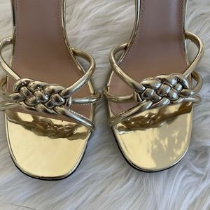 Zara Shoes - Zara Gold Braided Ankle Strap Heels